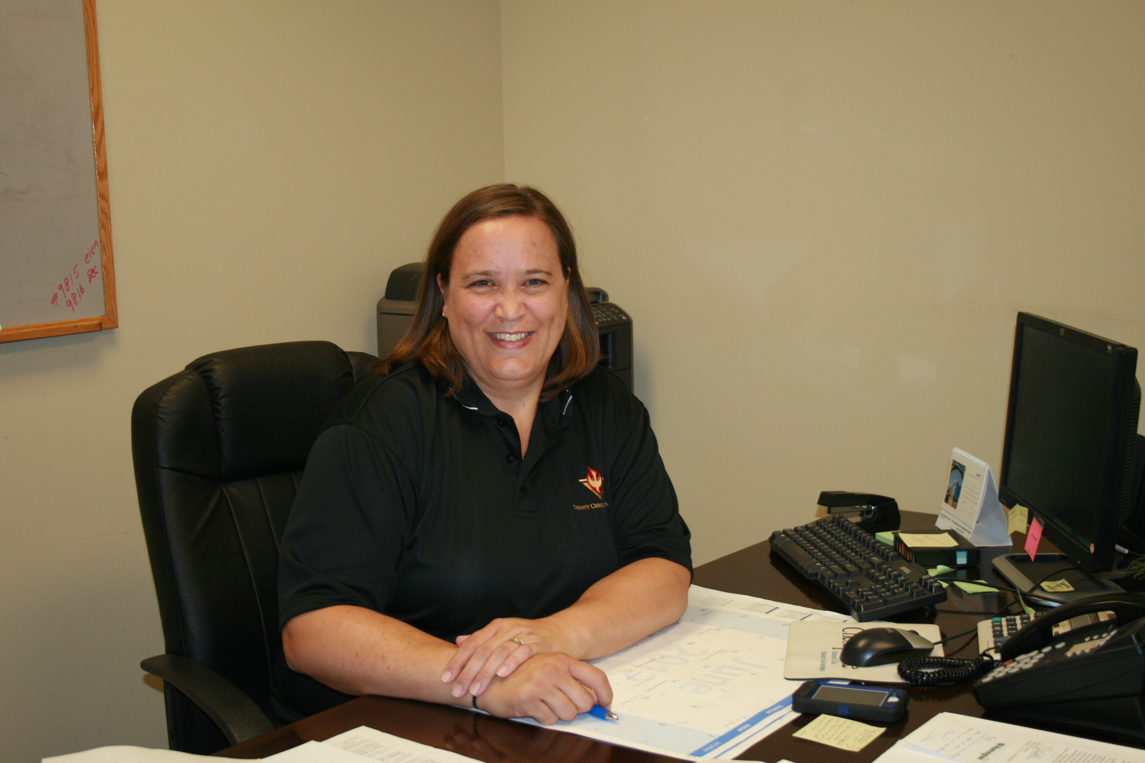 trinity christian school it s been an active summer while a familiar face to returning tcs families mrs woods will no longer be teaching gym classes she now finds herself behind a desk fulfilling her new